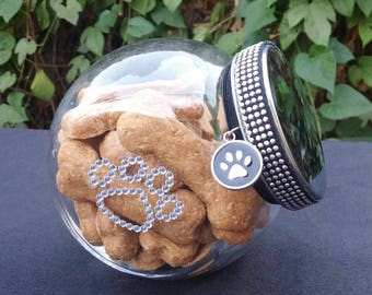 Gourmet Dog Treats Handmade 12 ounces Of Biscuits In A Glass Treat Container with Rhinestone Paws and Paw Dog Tag (choose your flavor}