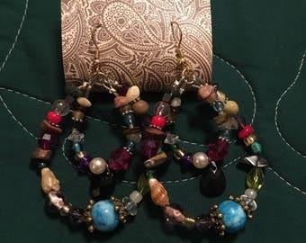 Mixed stone earring