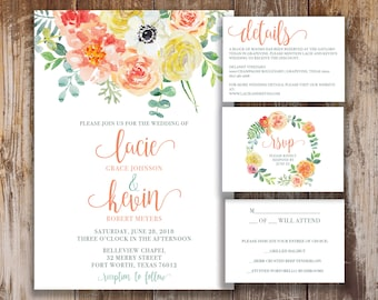 Printable Wedding Invitation, RSVP, and Details Card- Claire Collection