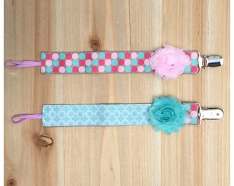 Reversible Pacifier Clip / Polka Dot Clip / Pacifier Holder