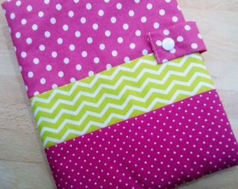 Lovely health booklet protection cover personalized, cotton and lined in fleece in shades of pink and green