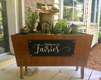 Fairies sign, I Believe in Fairies, Wood Sign, Fairy Garden, Fairy Garden Sign