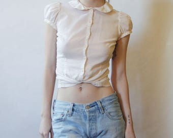 90s Cotton Blouse With Peter Pan Collar XS/S