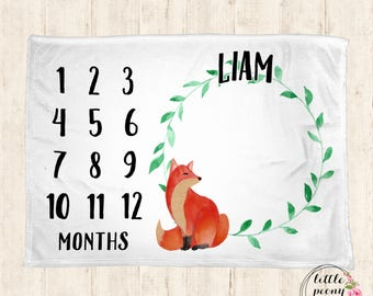 Monthly Milestone Blanket - Personalized Baby Blanket - Milestone Blanket - Fox Baby Blanket - Baby Blanket - Baby Shower Gifts - Fox