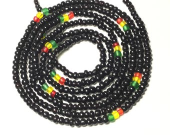 Rasta Red Yellow Green Black African Waist Beads