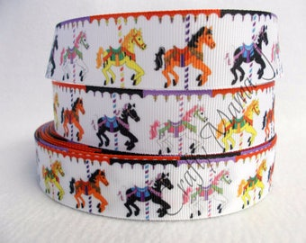 "SALE Carousel Horse on 1"" Grosgrain Ribbon by the yard. Choose 3/5/10 yards.  Horses on Merry Go Round, Amusement park, circus, carousel,"