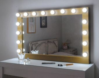 Hollywood lighted vanity mirror large makeup mirror with hollywood vanity mirror with lights wall hanging mirror 43x27 mozeypictures Gallery