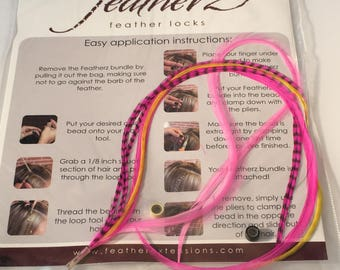 Hot pink 5 feather hair extension 8-10 ""