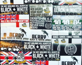 100 x Derby County Stickers - Based on Poster Shirt Scarf Pin Badge Programme DCFC Pride Park Flag Ultras