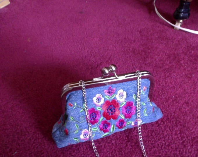 One of A Kind Embroidered Blue Jean Clutch Purse with chain and interior pockets, Denim Embroidered Purse, Designer Blue Jean Purse