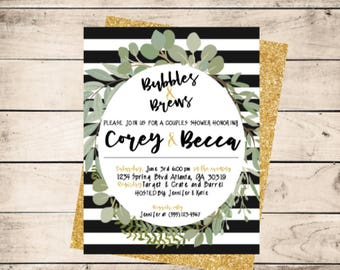 Bubbles and Brews Couples Shower Invitation