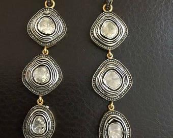 Mughal style rose cut uncut polki pave diamond sterling silver long dangler earrings - PJ410179
