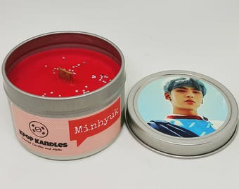Minhyuk- 4OZ- Scented Candle- MonstaX- Kpop- Wood Wick Candle- Soy Candle- Kpop Gift- Kpop Merch- Korean- Hallyu