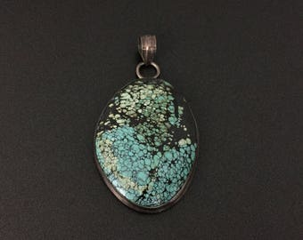 Vintage Turquoise Stone Sterling Silver Pendant