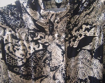 Vintage 80s Adrianna Papell Blouse Silk Black with a Cream Floral Pattern Ruched Turtleneck and Cuffs