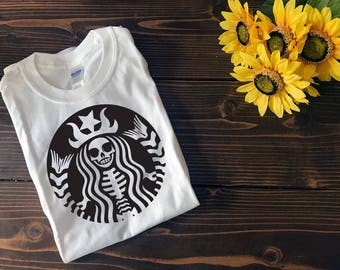 Starbucks Skelton T Shirt | Halloween T Shirt | Custom T Shirt | Create Your Own T Shirt | Custom Sayings | Graphic Tees | T Shirts