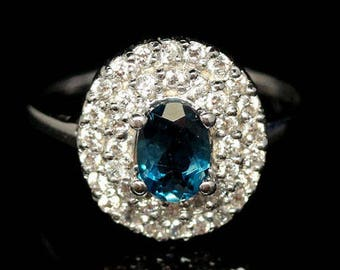 Amazing gold plated S925 silver ring Blue Topaz white London and zirconium