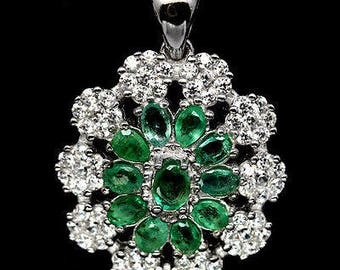 Pendant in 925 silver plated white gold Emerald and zirconia