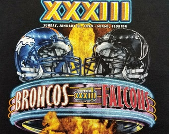 Vintage Denver Broncos Vs Atlanta Falcons Super Bowl XXXIII Pro Player Shirt Size XL