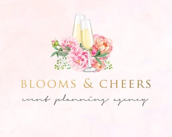Watercolor Floral Champagne Glasses and Peonies Wedding & Event Planning Premade Logo Design
