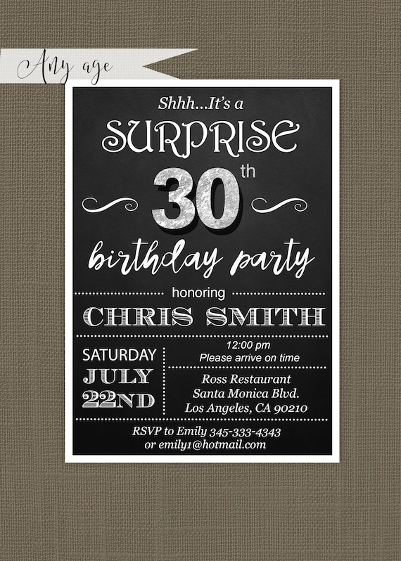 Surprise 30th birthday invitations for him Mens 30th Birthday