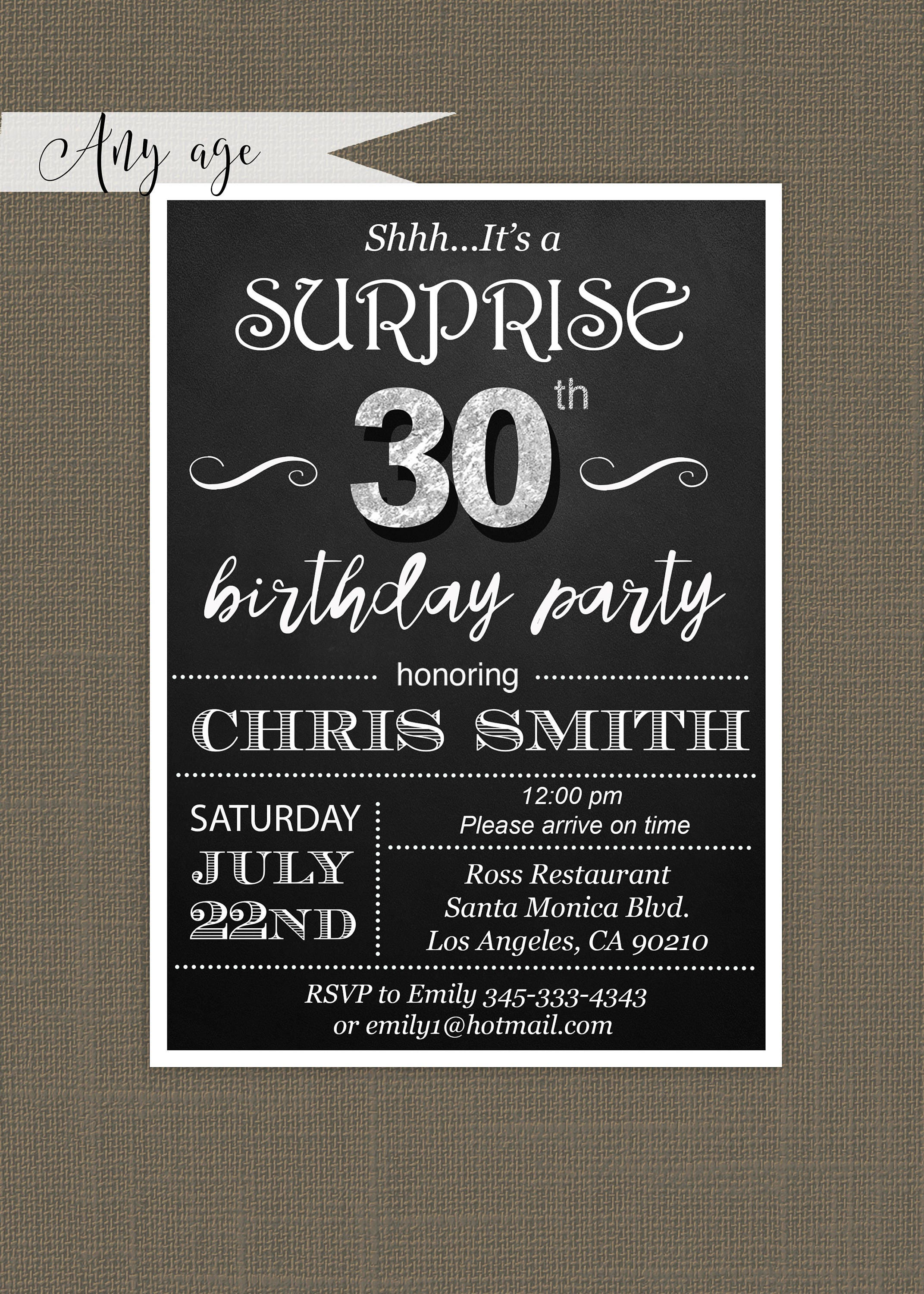 Surprise th birthday invitations for him Mens th