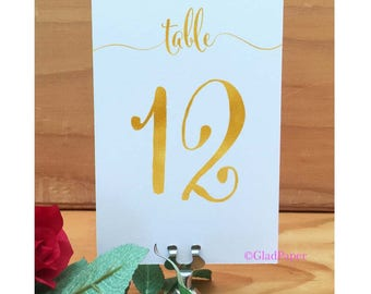GOLD Table Numbers, Wedding Table Numbers, Gold Foil Table Decor, Gold Wedding Table Decor, Elegant Table Numbers, Table Numbers Gold