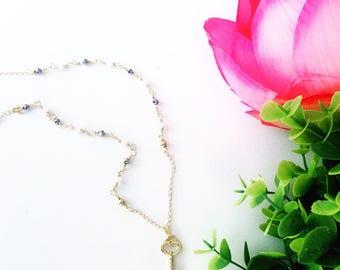 Heart key. Goldfilled chain with czech crystals. Cadena de oro laminado con ceiatales checos.