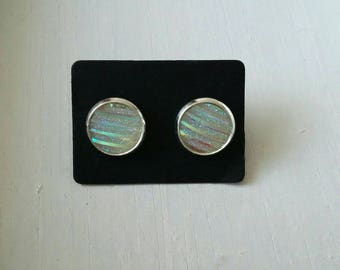 Small Stud Earrings white stripes