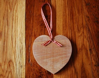 Decorative limed oak hanging heart