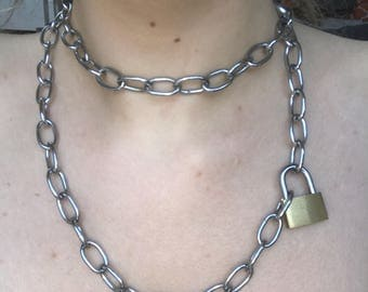Padlock Double Chain Necklace