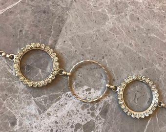 Triple circle silver rhinestone  choker