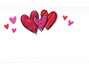 50 Gift  Tags, Florist Blank Enclosure Cards ,Small  Hang Tags Crafts , Heart  Splash