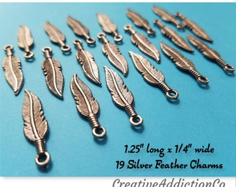 Feather charms, Silver charms, Indian Feather Jewelry Gifts, Feathers, Silver Feather pendant, Tibetan, Charm bracelet, Metal charm, #2C