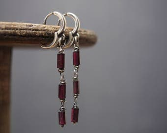 Garnet silver earrings, 925 oxidized organic silver, drop earrings, red earrings