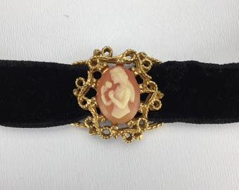 Vintage Black Velvet Choker with Cameo Slide Pendant, Girl Smelling Rose, Vintage 1990s Costume Jewelry Necklace