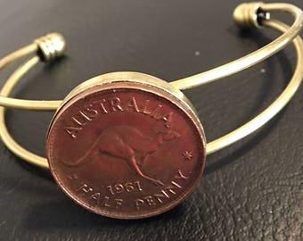 Bangle- Bracelet Australian 1961 Half Penny,