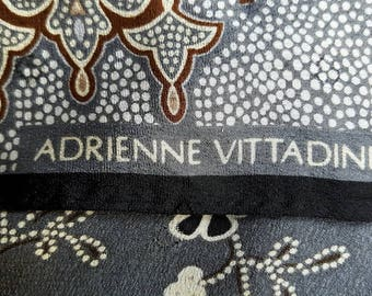 Vintage designer Adrienne Vittadini silk square scarf - blue, brown, and white with floral and fleur de lis pattern