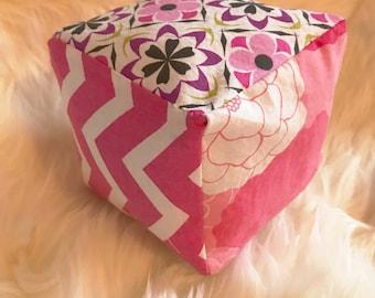 Plush Rattle Block 4 Inch -  Pinks