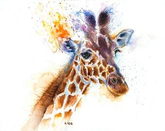 Burning Savanna Giraffe Original Watercolor Painting High Quality Giclée Print canvas home decor office nursery animal art gift PRINT