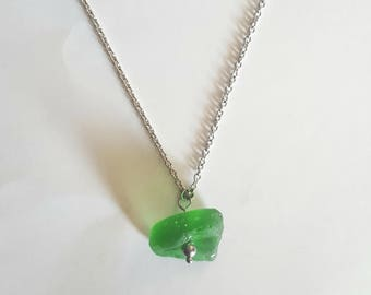 Green Sea Glass & Stainless Steel Necklace 18""