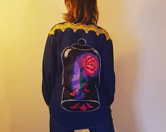 Denim jacket customized disney-inspired and the beast unique painted and sewn by hand T:M