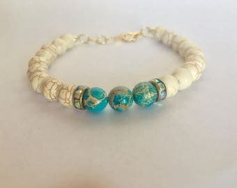 Turquoise and marble bracelet