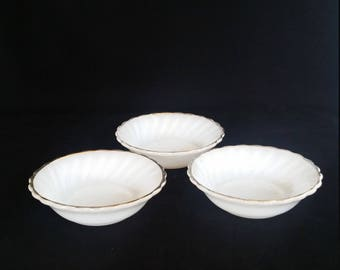 White Fire King Gold Trim - set of 3 - white milk glass with gold trim fruit bowls - 1960s Fire King