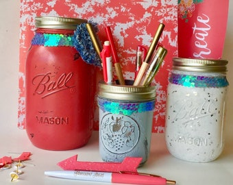 Red Coral Mason Jar Desk Set Of 3 Pale Blue Denim Blue Desk