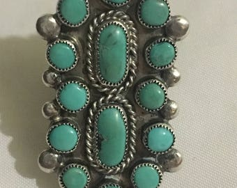 Vintage pawn Navajo sterling cluster turquoise ring size 4.5