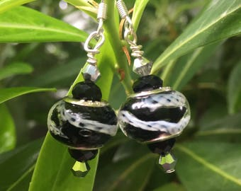 Artisan crafted Murano glass style bead earrings