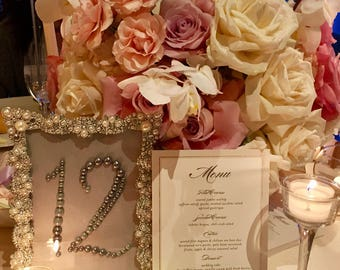 Pearl wedding table numbers with pearl and crystal frame