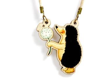 Kids Jewellery Necklace Wooden ***HEDGEHOG DANDELION ***