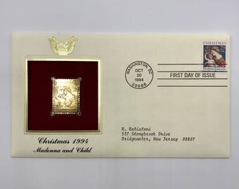 Christmas Stamp | Madonna and Child | Elisabetta Sirani | Gold Replica | 1 Vintage 1994 Christmas First Day of Issue Envelope with 1 Stamps